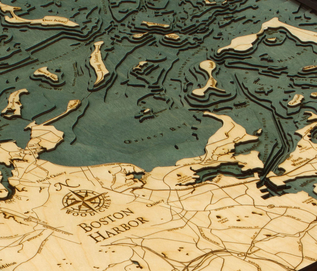 Boston Harbor Wood Carved Topographic Depth Chart / Map