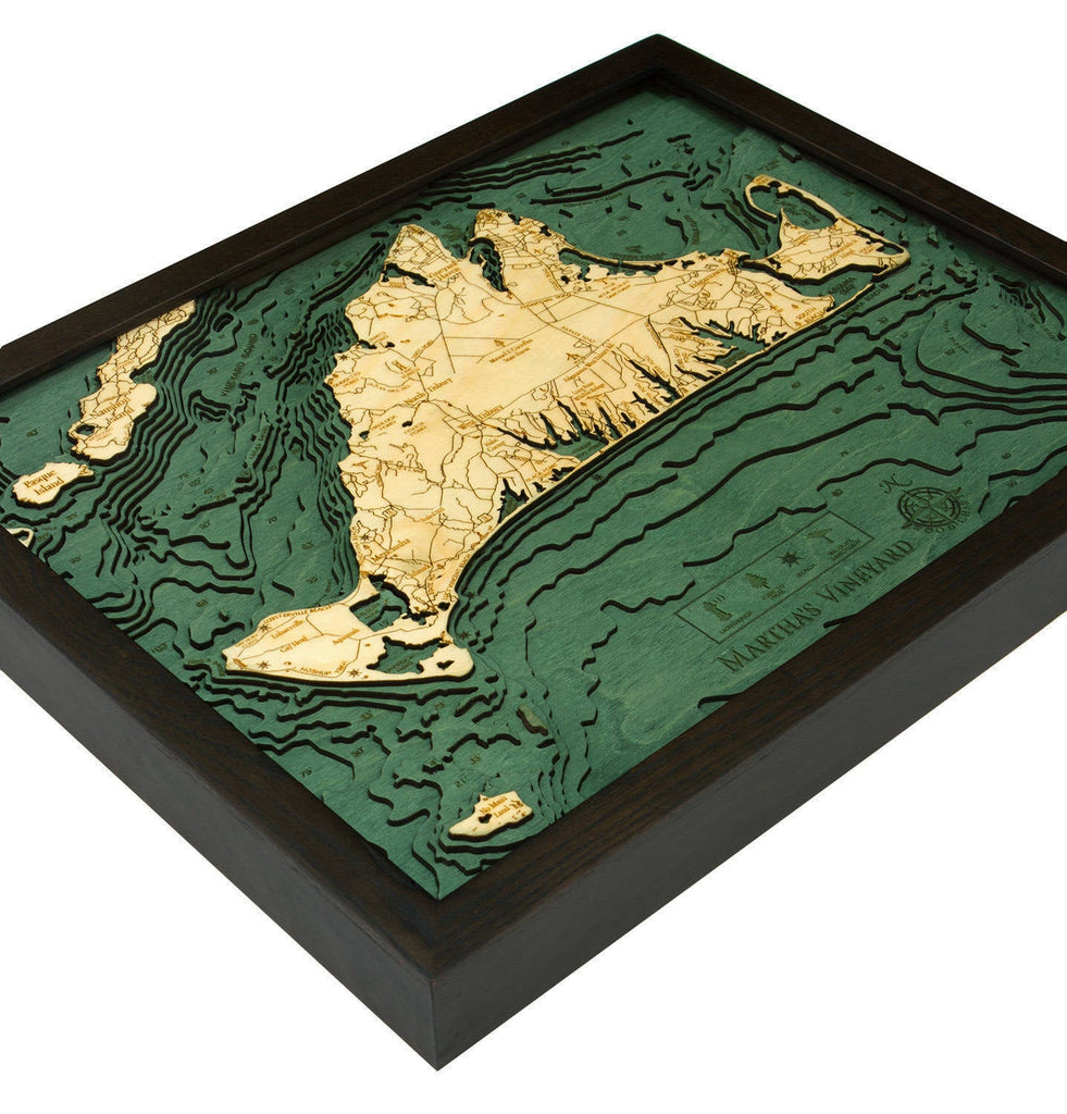 Martha's Vineyard, Massachusetts Wood Carved Topographic Depth Chart / Map