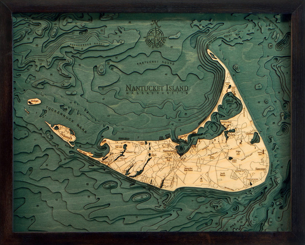 Nantucket Wood Carved Topographic Depth Chart / Map - Nautical Lake Art