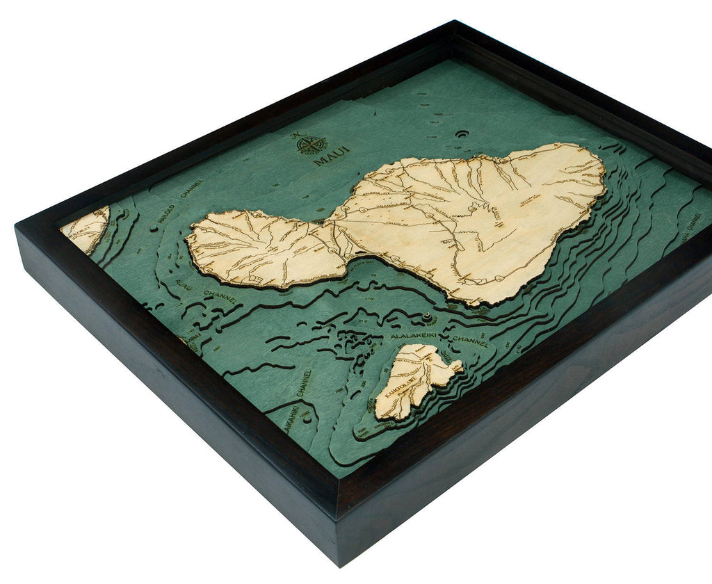 Maui Wood Carved Topographic Depth Chart / Map