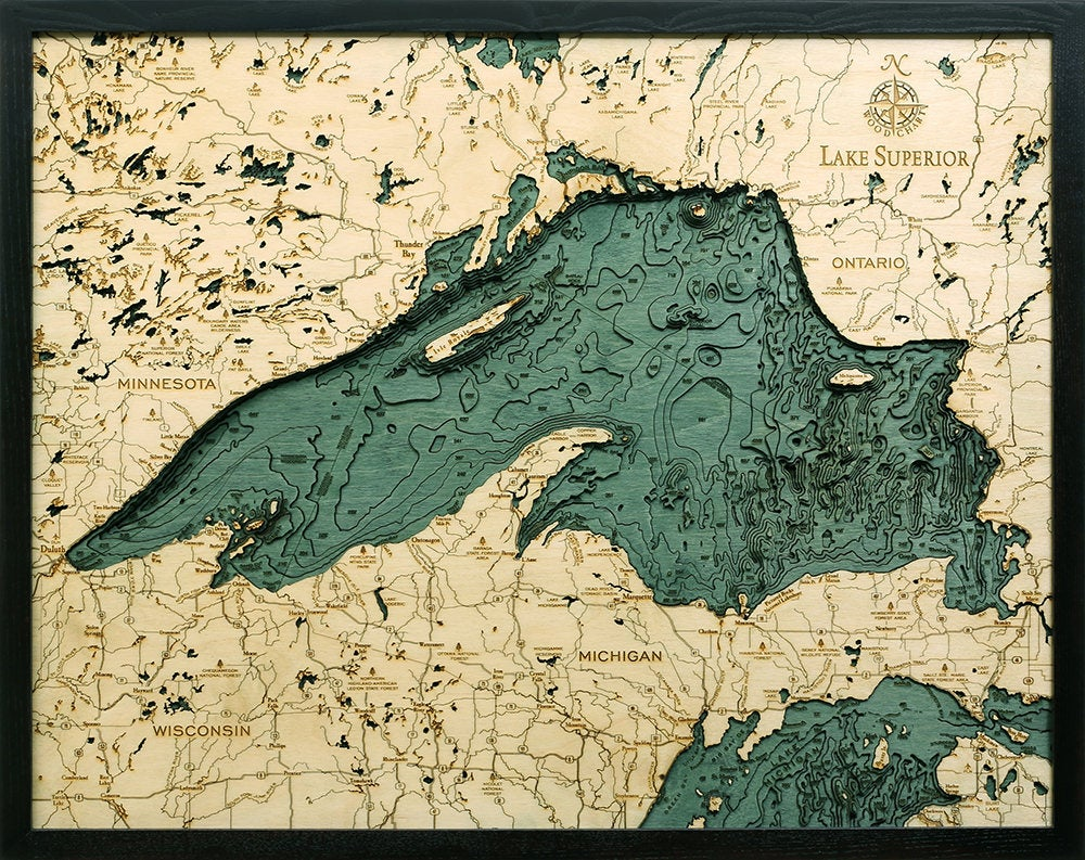 Lake Superior Wood Carved Topographic Depth Chart / Map - Nautical Lake Art