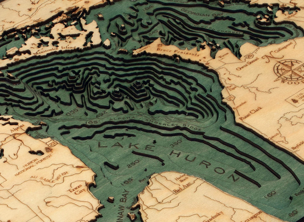 Lake Huron Wood Carved Topographic Depth Chart / Map - Nautical Lake Art