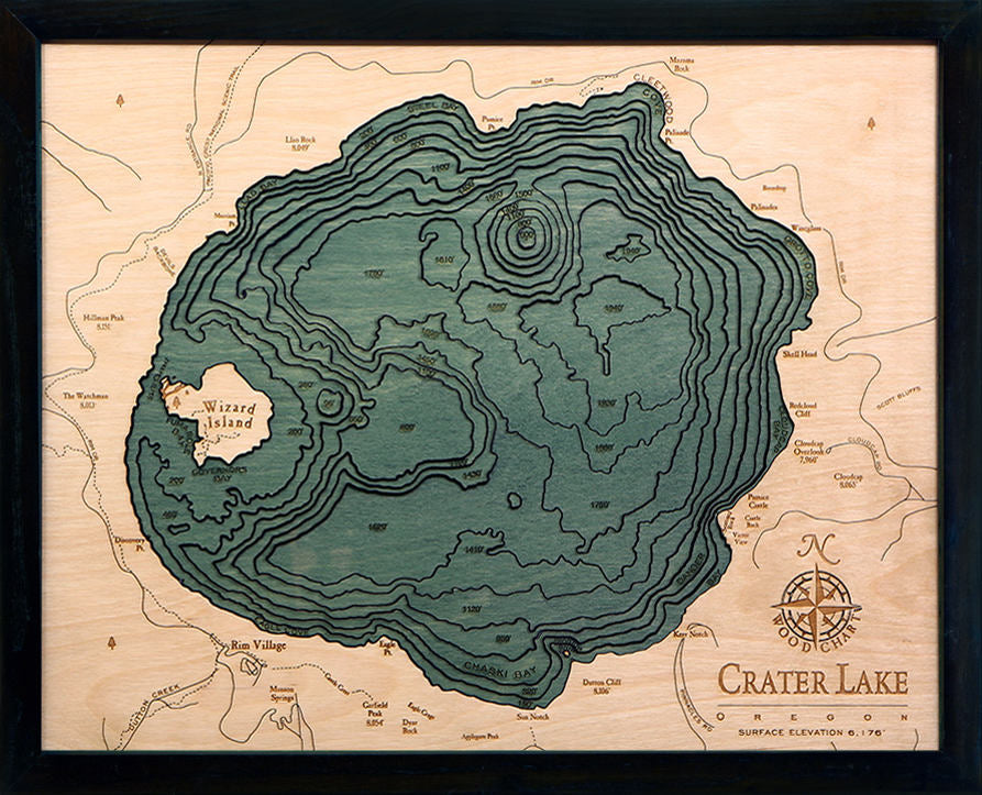 Crater Lake Wood Carved Topographic Depth Chart / Map - Nautical Lake Art
