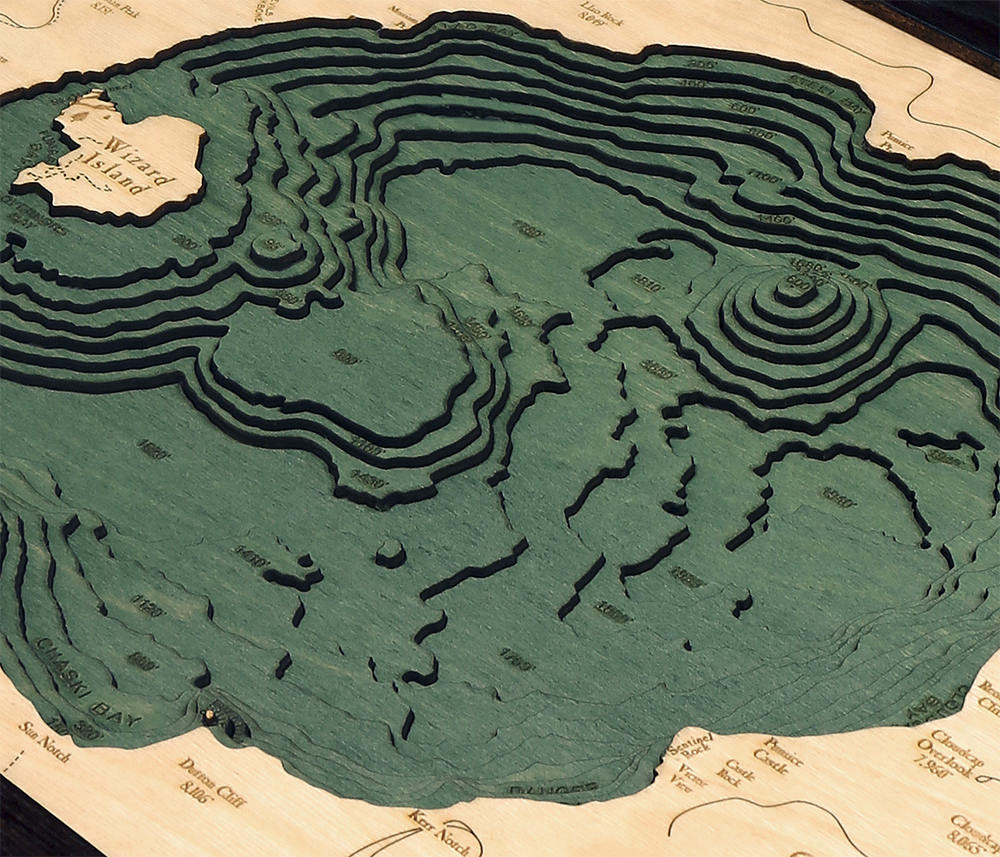 Crater Lake Wood Carved Topographic Depth Chart / Map