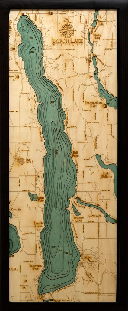 Torch Lake, Michigan Wood Carved Topographic Depth Chart / Map - Nautical Lake Art