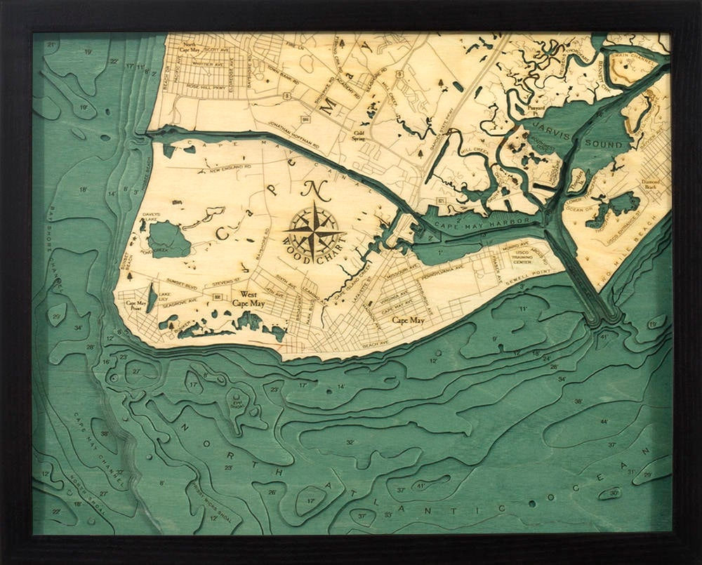Cape May, New Jersey Wood Carved Topographic Depth Chart / Map - Nautical Lake Art