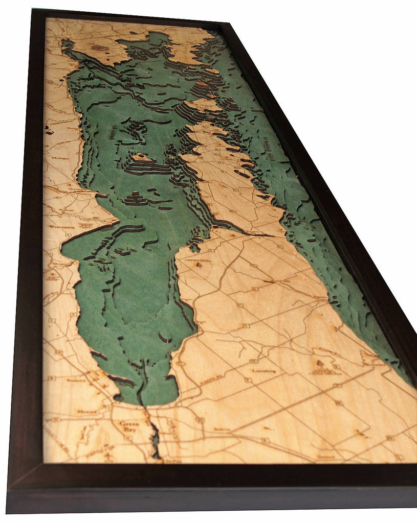 Door County / Peninsula Wood Carved Topographic Depth Chart / Map - Nautical Lake Art