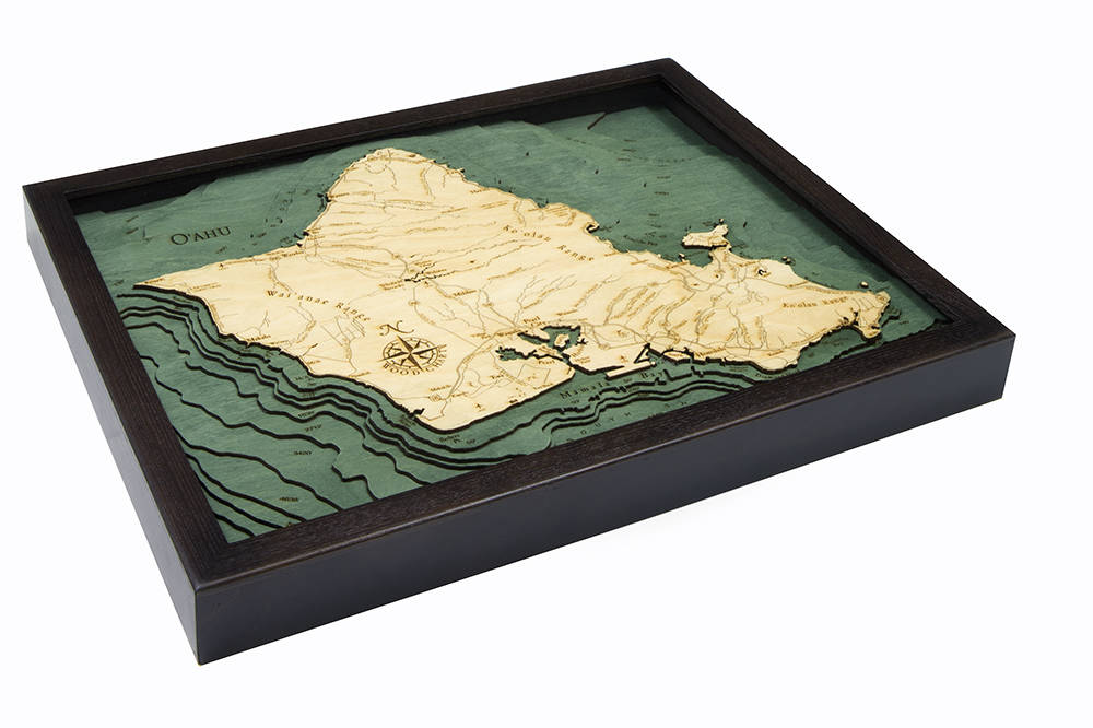 Oahu Wood Carved Topographic Depth Chart / Map - Nautical Lake Art