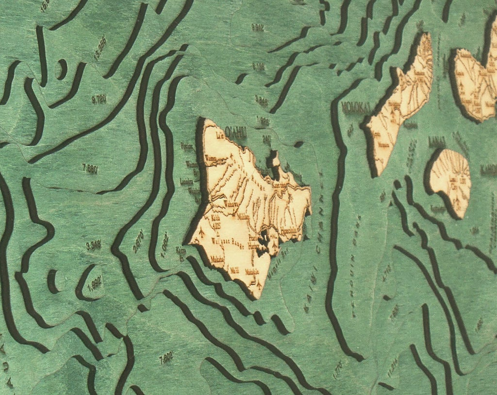 Hawaiian Islands Wood Carved Topographic Depth Chart / Map - Nautical Lake Art