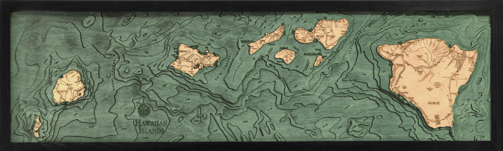 Hawaii Islands Wood Carved Topographic Depth Chart / Map