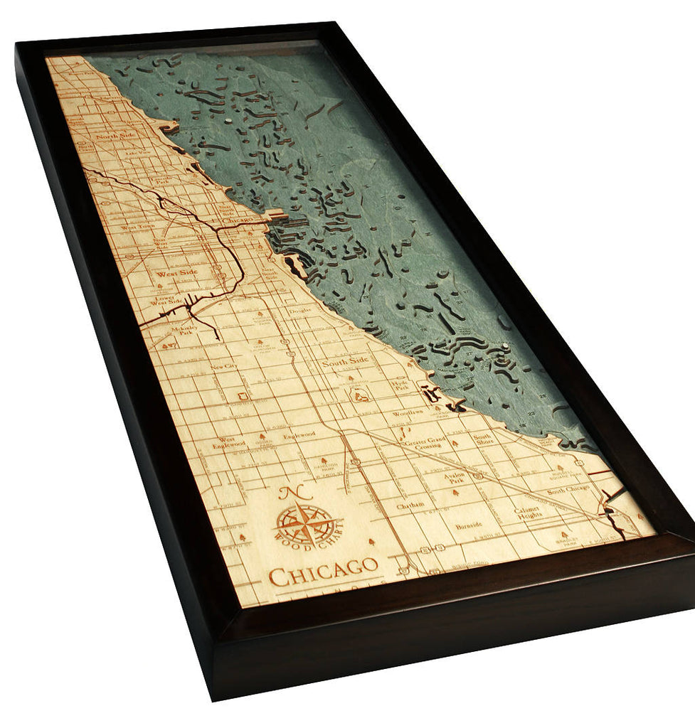 Chicago Wood Carved Topographic Depth Chart / Map