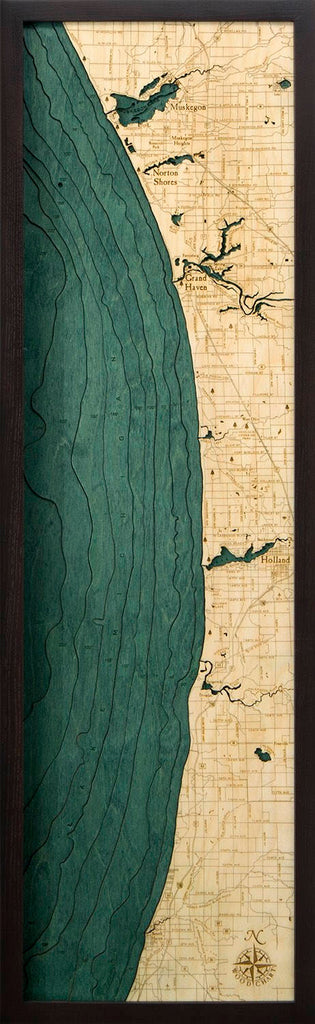 Muskegon to South Haven Wood Carved Topographic Depth Chart / Map - Nautical Lake Art