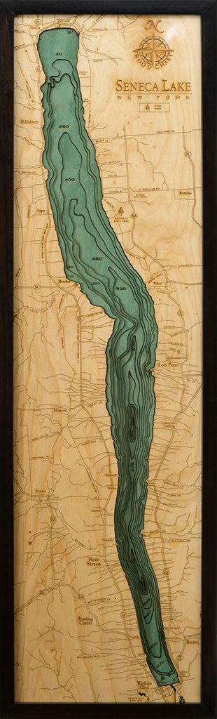 Seneca Lake Wood Carved Topographic Depth Chart / Map - Nautical Lake Art
