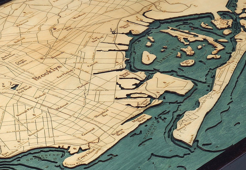 Brooklyn, NY Wood Carved Topographic Depth Chart / Map - Nautical Lake Art