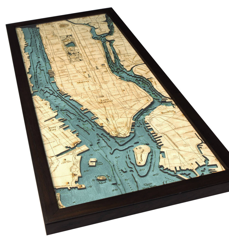 Long Island, Manhattan Wood Carved Topographic Depth Chart / Map