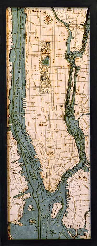 Long Island, Manhattan Wood Carved Topographic Depth Chart / Map - Nautical Lake Art