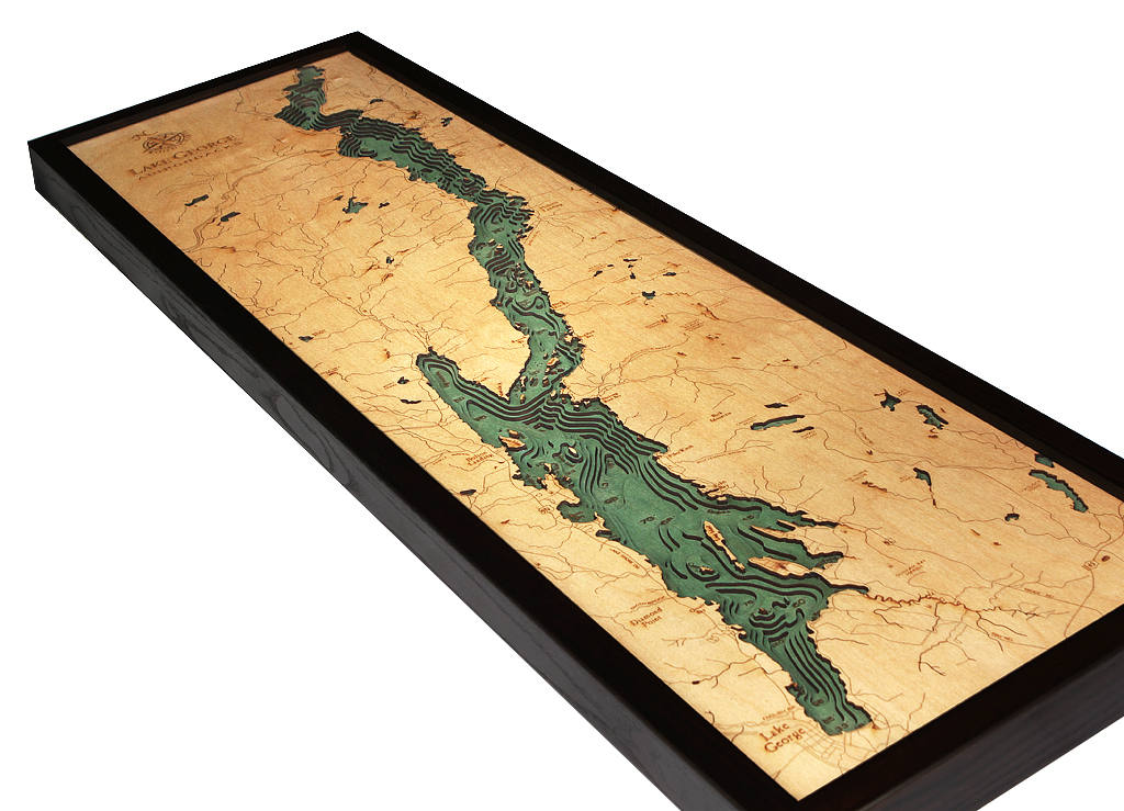 Lake George, NY Wood Carved Topographic Depth Chart / Map