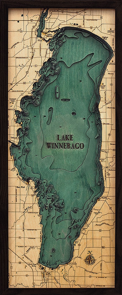 Lake Winnebago Wood Carved Topographic Depth Chart / Map