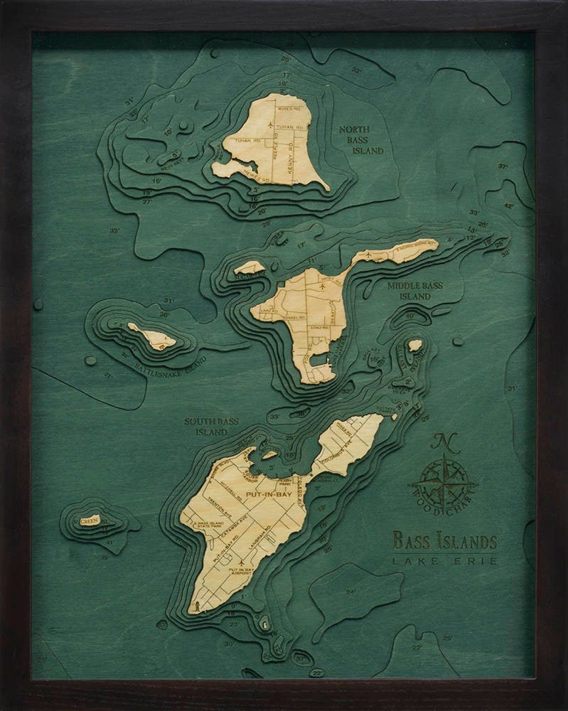 Bass Islands & Put-in-Bay Wood Carved Topographic Depth Chart / Map