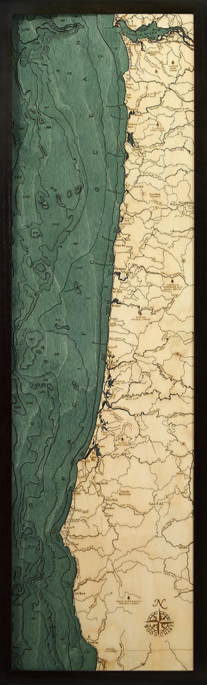 Oregon Coast Wood Carved Topographic Depth Chart / Map - Nautical Lake Art