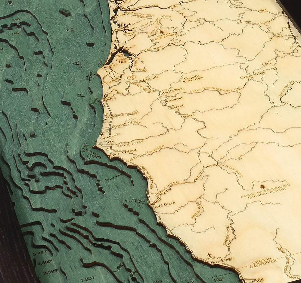 Oregon Coast Wood Carved Topographic Depth Chart / Map