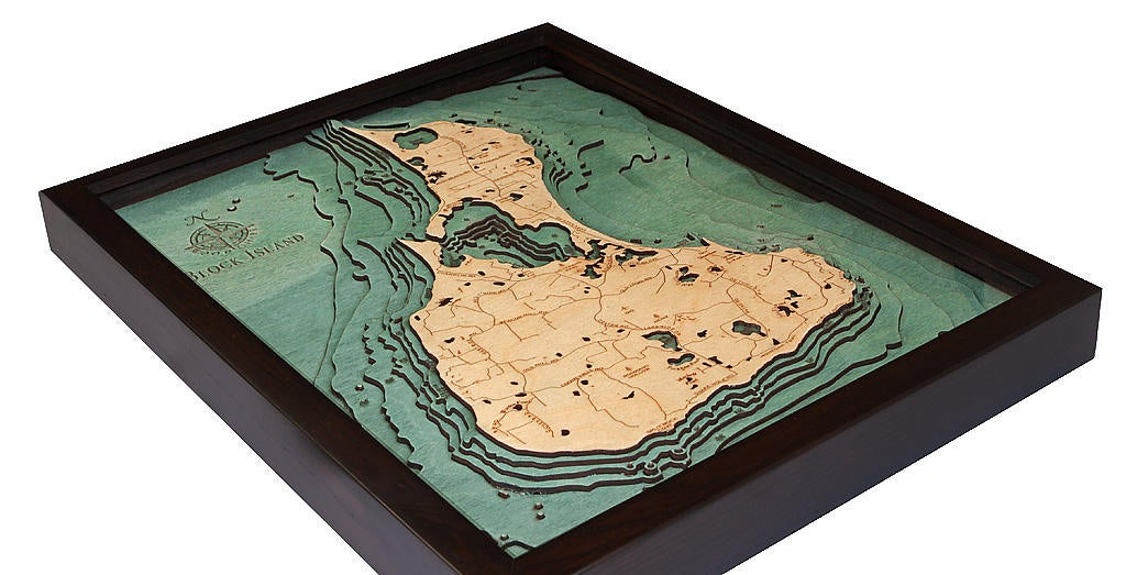 Block Island, RI Wood Carved Topographic Depth Chart / Map - Nautical Lake Art
