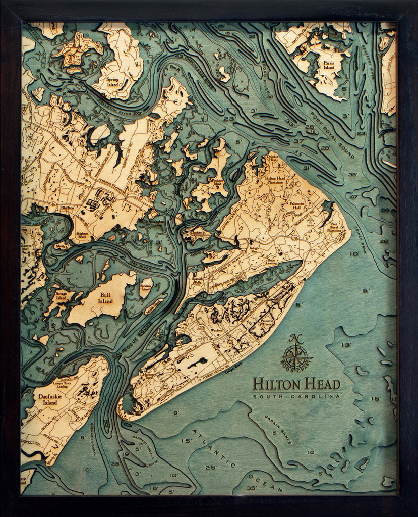 Hilton Head, SC Wood Carved Topographic Depth Chart / Map