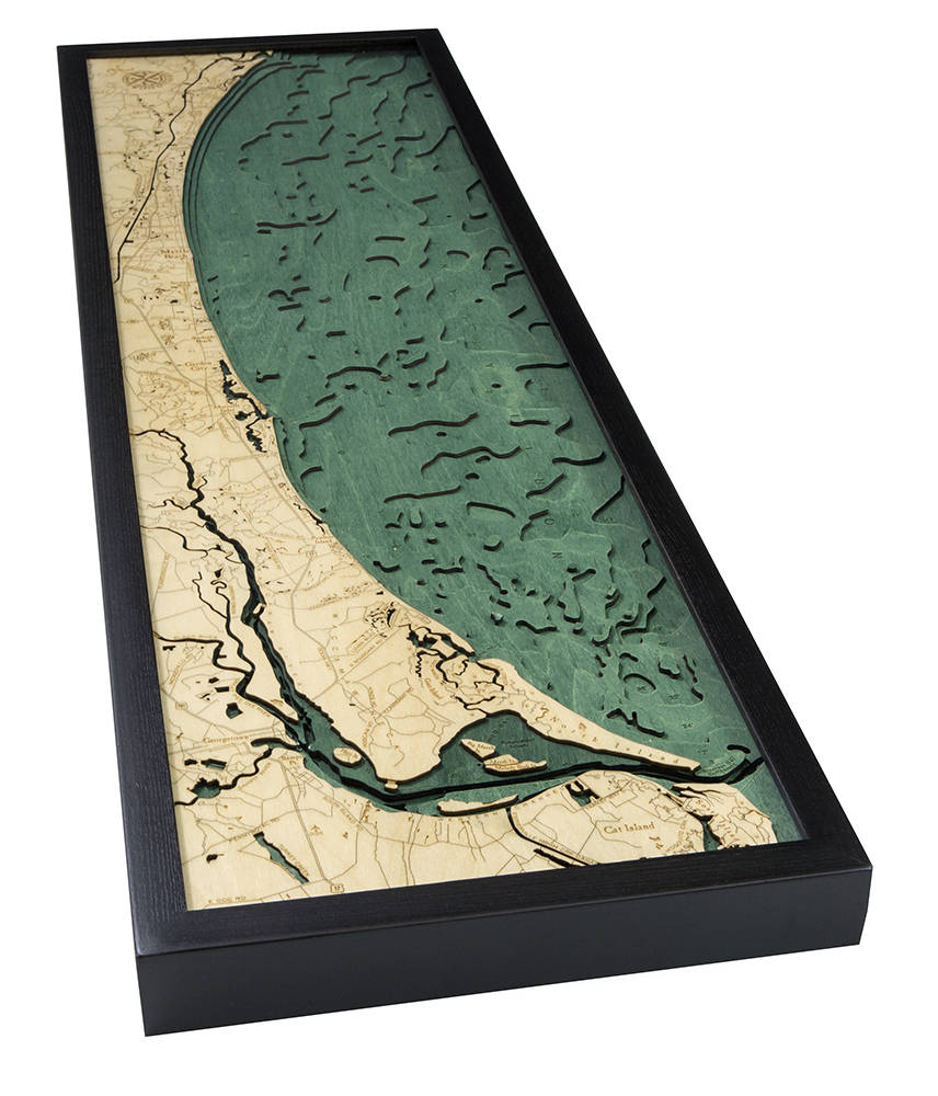Myrtle Beach Wood Carved Topographic Depth Chart / Map