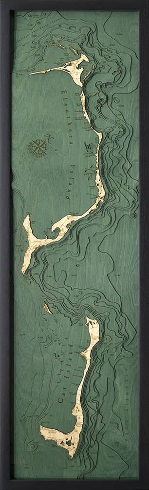 Eleuthera, Bahamas Wood Carved Topographic Depth Chart / Map
