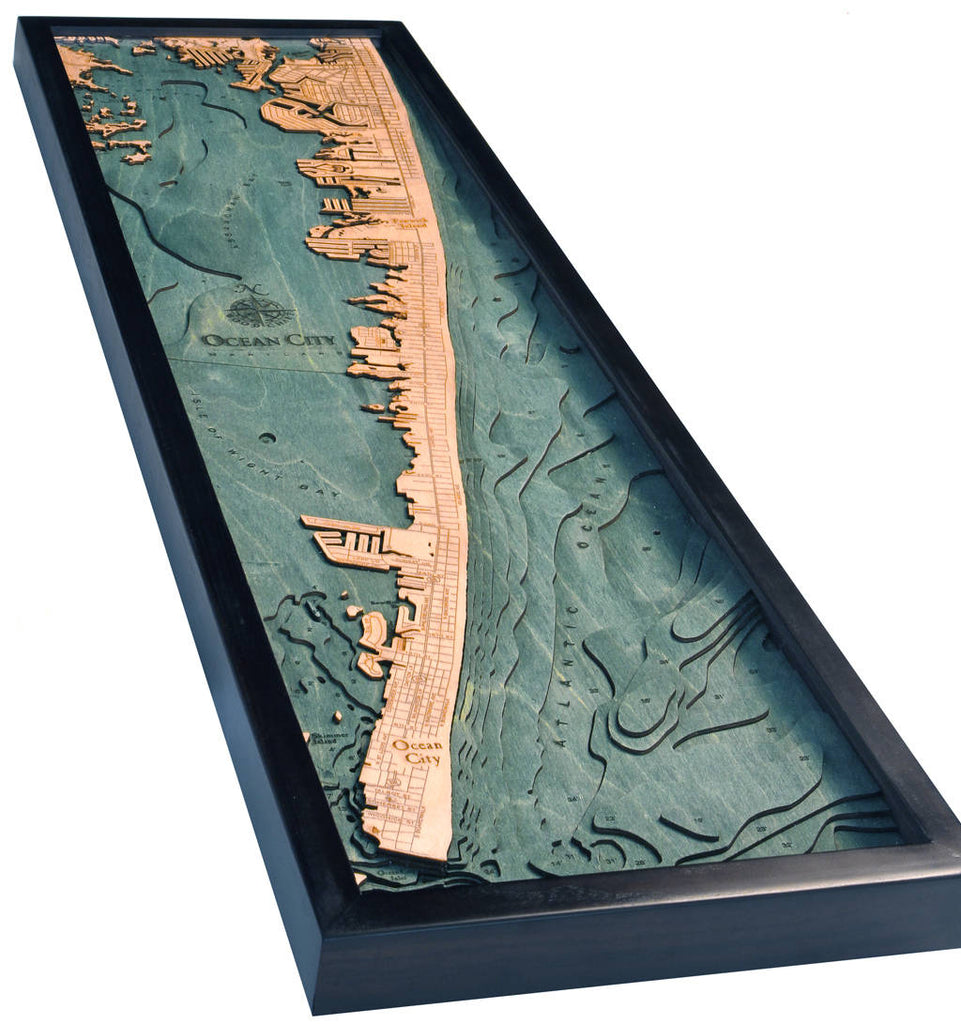 Ocean City Wood Carved Topographic Depth Chart / Map - Nautical Lake Art