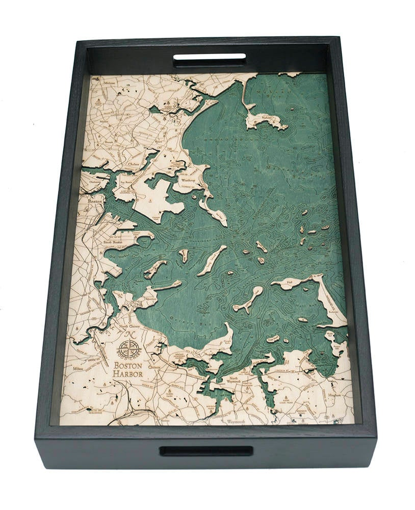 Boston Harbor Wooden Topographic Serving Tray - Nautical Lake Art