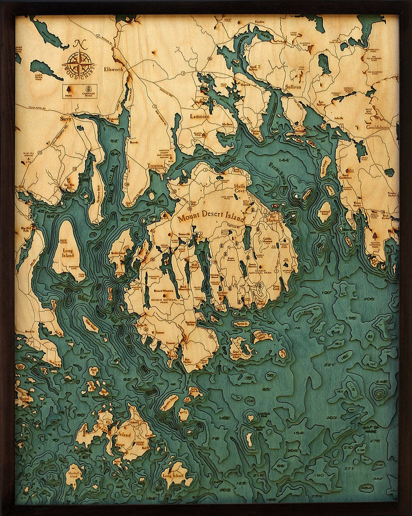 Mt. Desert / Bar Harbor Wood Carved Topographic Depth Chart / Map - Nautical Lake Art