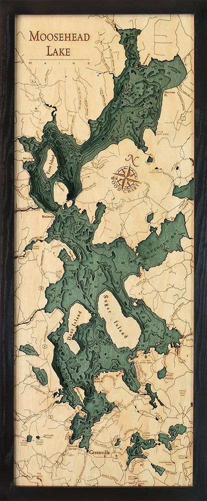 Moosehead Lake Wood Carved Topographic Depth Chart / Map - Nautical Lake Art