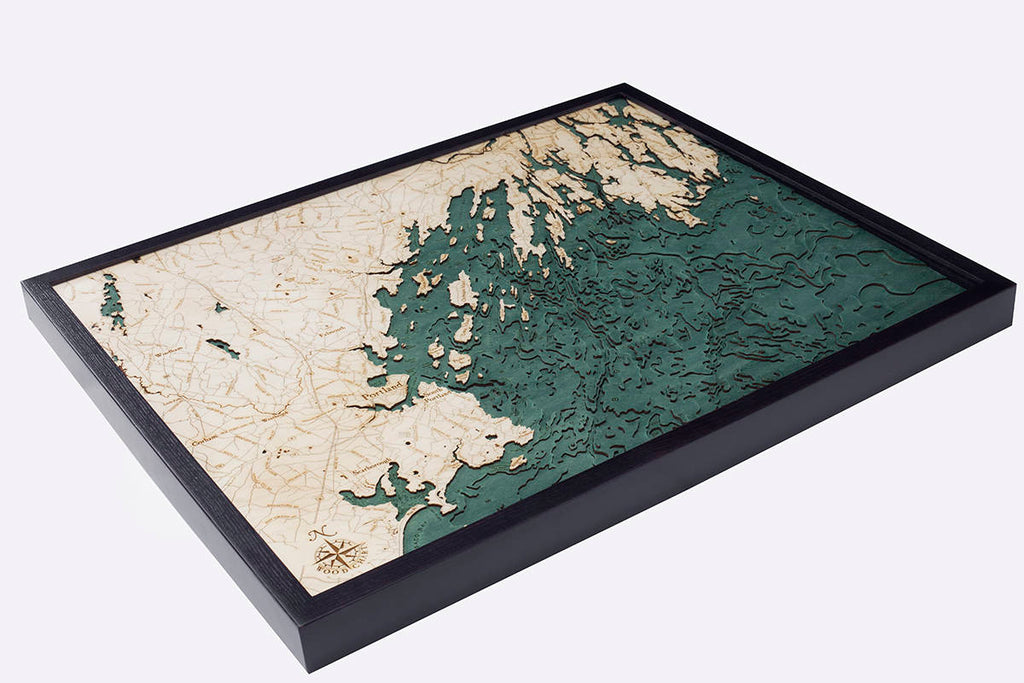 Portland Wood Carved Topographic Depth Chart / Map - Nautical Lake Art