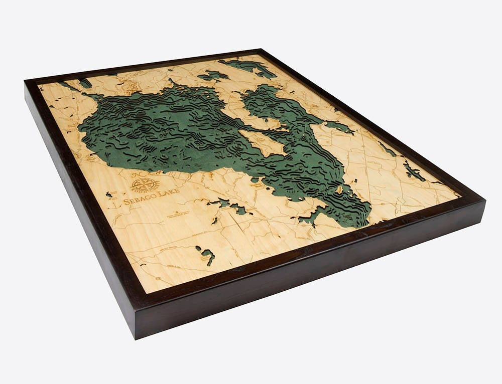 Sebago Lake Wood Carved Topographic Depth Chart / Map