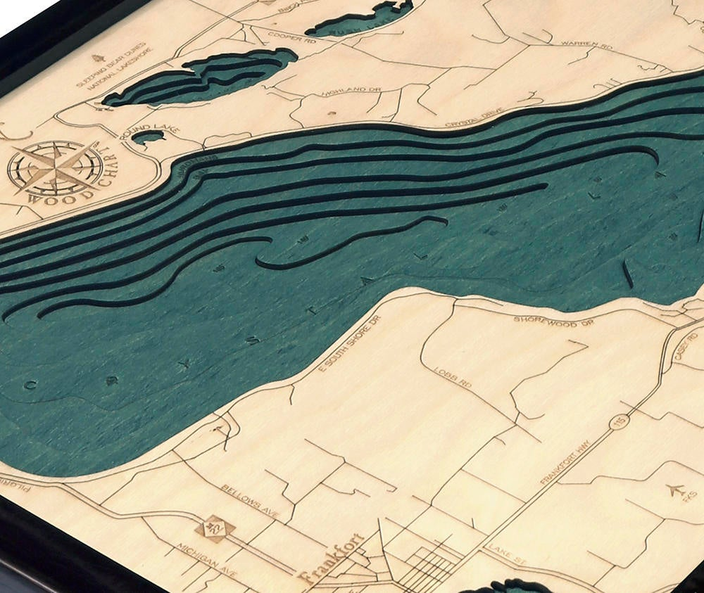 Crystal Lake Wood Carved Topographic Depth Chart / Map