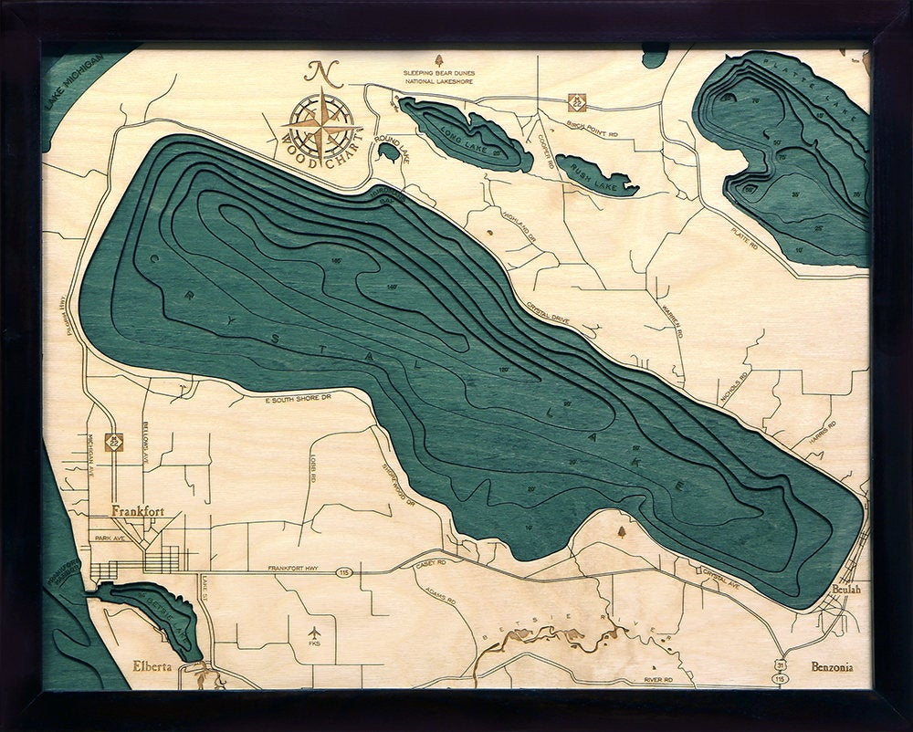 Crystal Lake Wood Carved Topographic Depth Chart / Map - Nautical Lake Art
