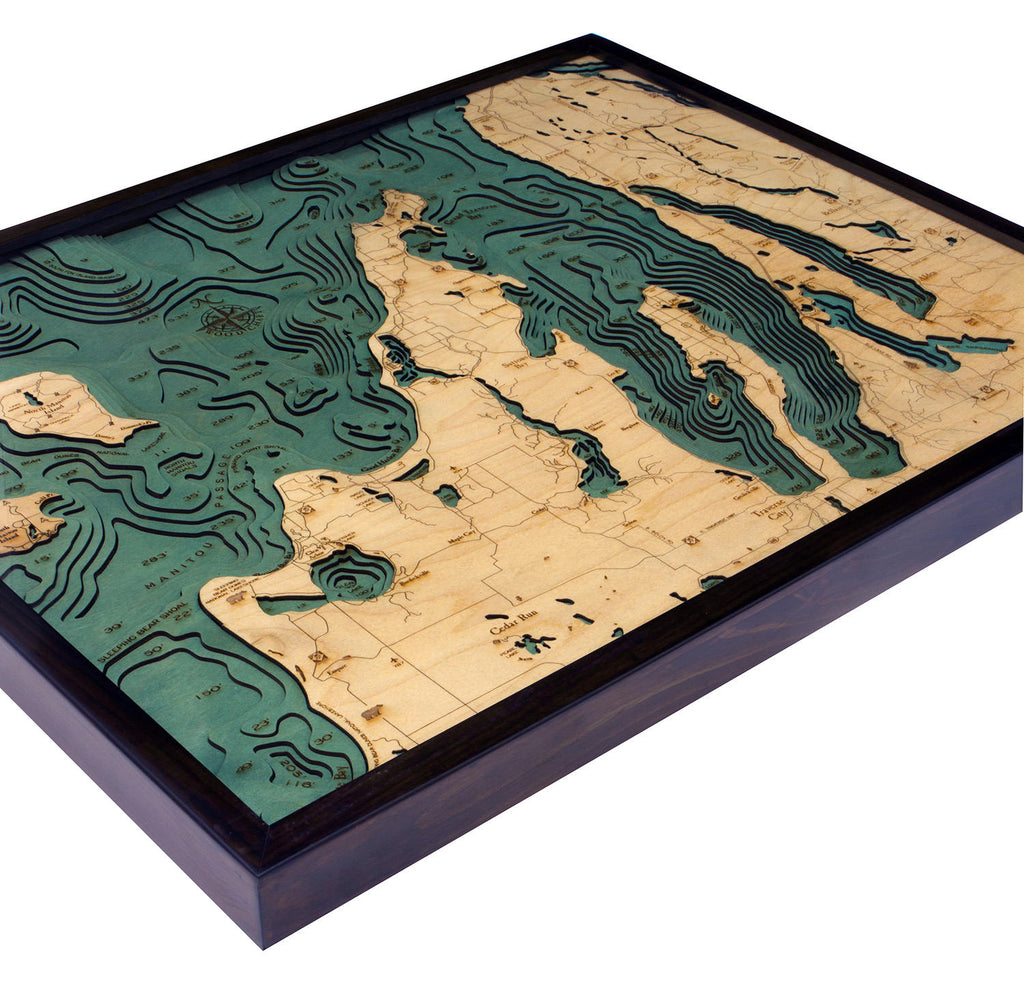 Grand Traverse Bay / Leelanau Wood Carved Topographic Depth Chart / Map