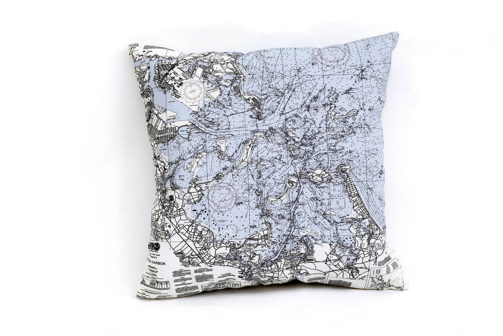 Boston Harbor Indoor/Outdoor Nautical Pillow