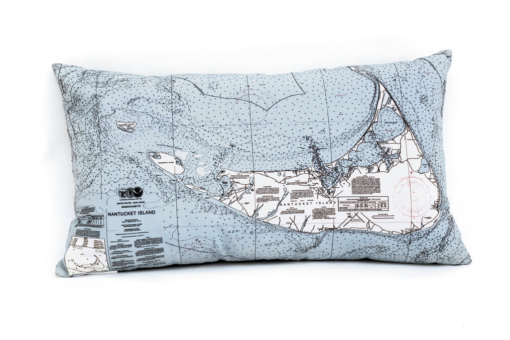 Nantucket, MA Indoor/Outdoor Nautical Pillow - Nautical Lake Art