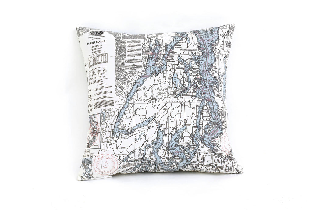 Puget Sound, WA Indoor/Outdoor Nautical Pillow - Nautical Lake Art