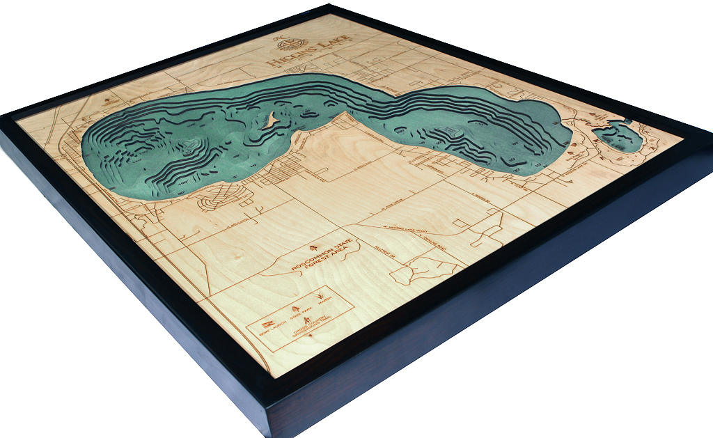 Higgins Lake, Michigan Wood Carved Topographic Map - Nautical Lake Art