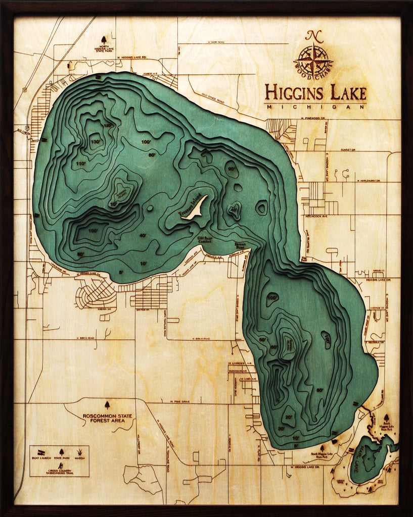 Higgins Lake, Michigan Wood Carved Topographic Map