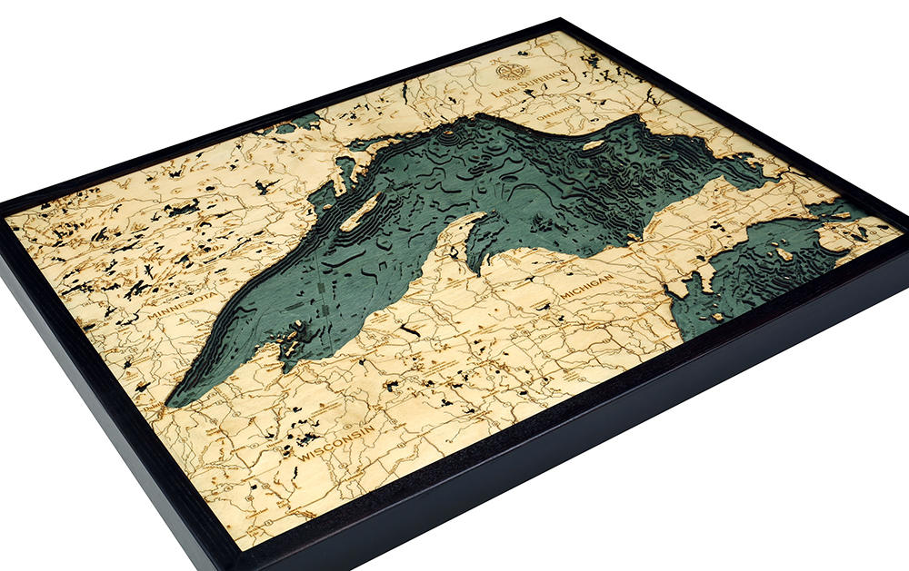 Lake Superior Wood Carved Topographic Depth Chart / Map