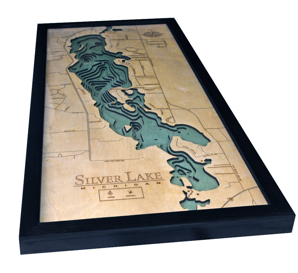 Silver Lake, Michigan Wood Carved Topographic Depth Chart / Map - Nautical Lake Art