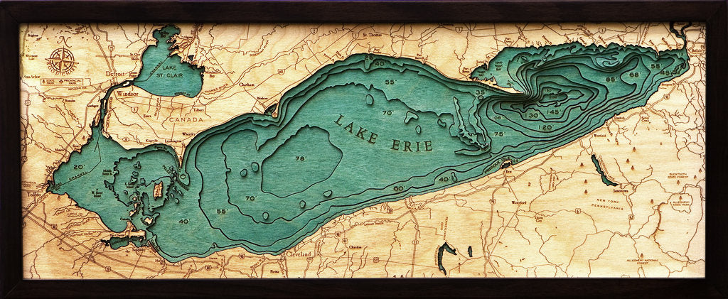 Lake Erie Wood Carved Topographic Depth Chart / Map - Nautical Lake Art