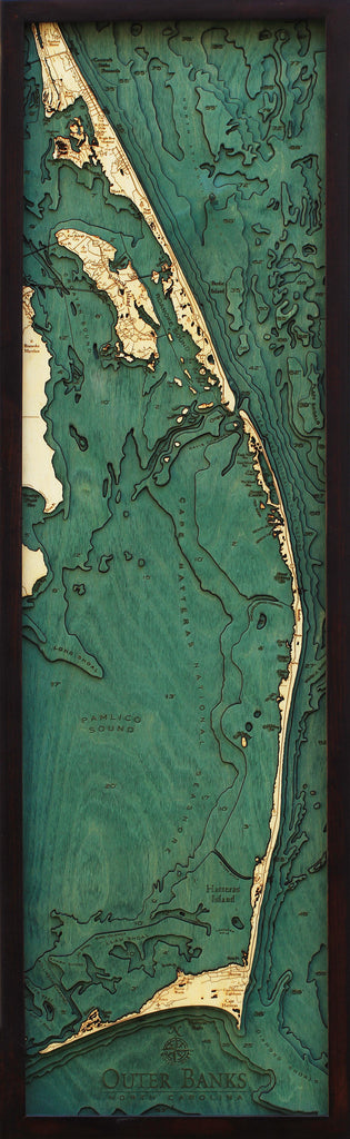 Outer Banks, North Carolina Wood Carved Topographic Depth Chart / Map - Nautical Lake Art