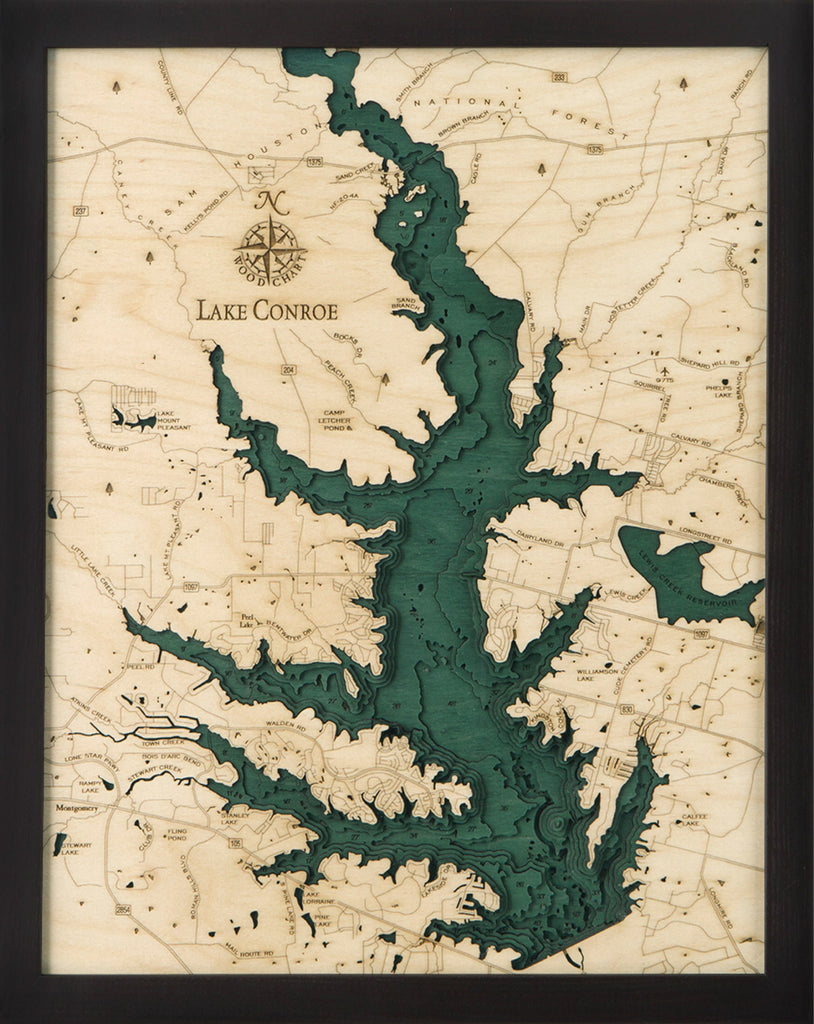 Lake Conroe, TX Wood Carved Topographic Depth Chart / Map