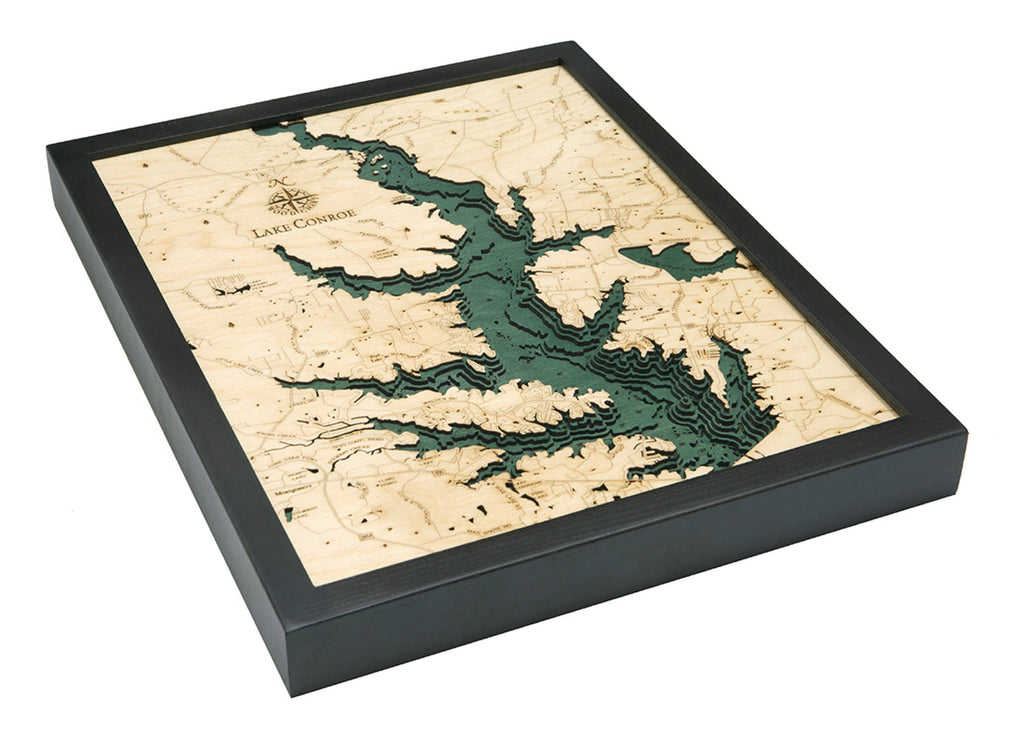 Lake Conroe, TX Wood Carved Topographic Depth Chart / Map - Nautical Lake Art