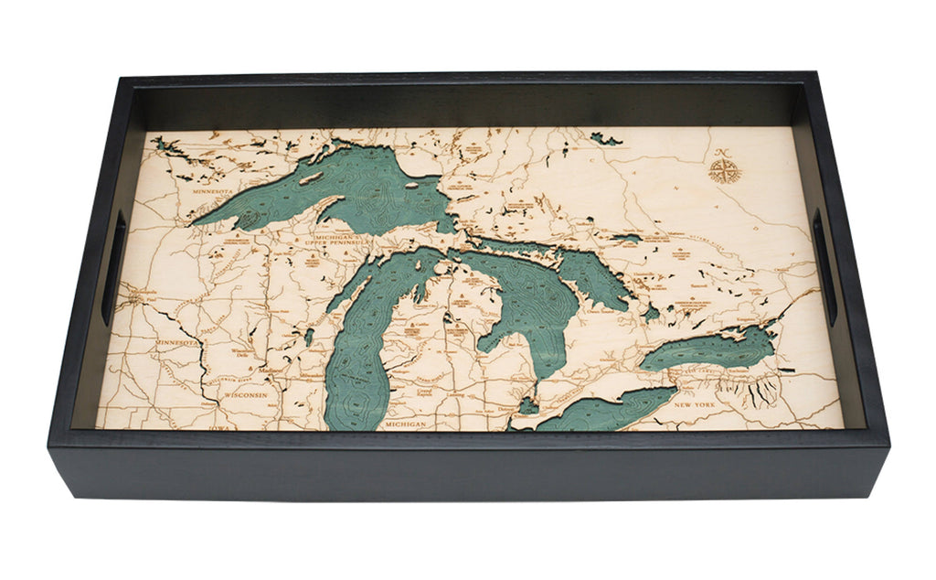 Great Lakes Wooden Topographical Serving Tray - Nautical Lake Art